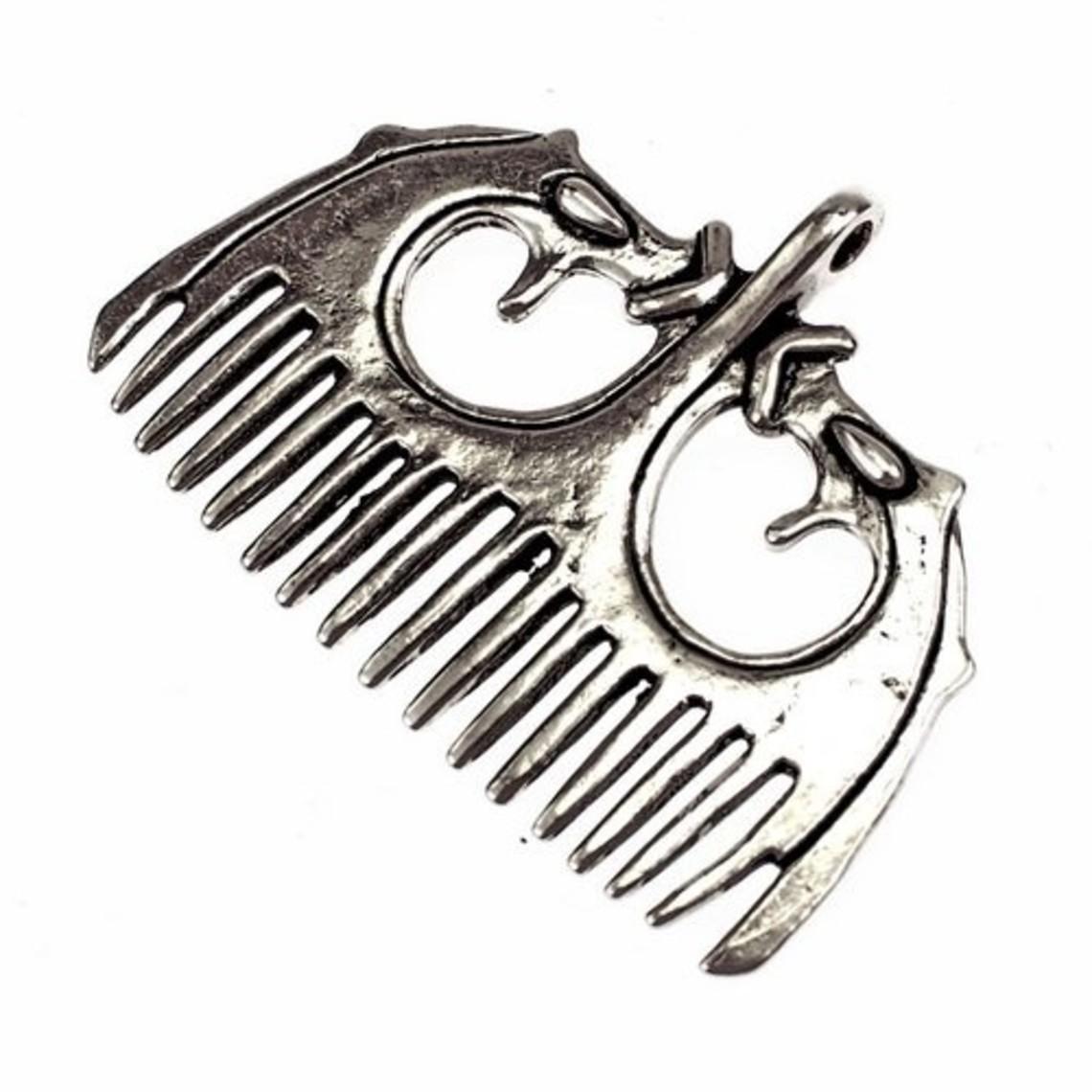 Viking peine estilo Ringerike, plateado