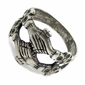 anneau d'enclenchement moyen-âge, argenté