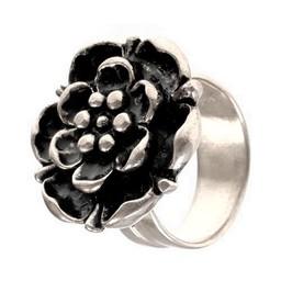 Renaissance rose ring, silvered