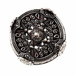 Viking Trommel Brosche große, versilbert