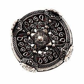 Viking drum-broche groot, verzilverd