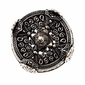 Viking drum brooch large, silvered