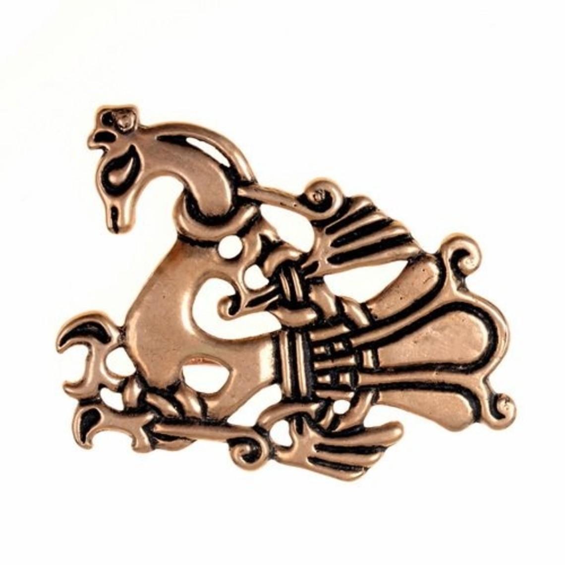 Viking broche de pavo real, plateado