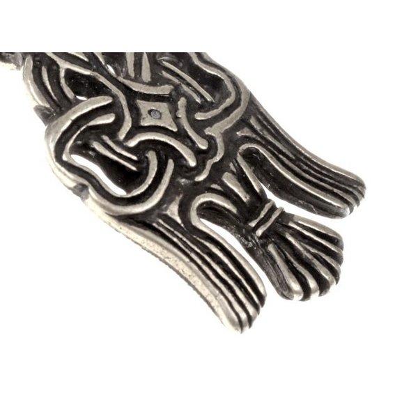 10 ° secolo Rusvik corvo amuleto, argentato