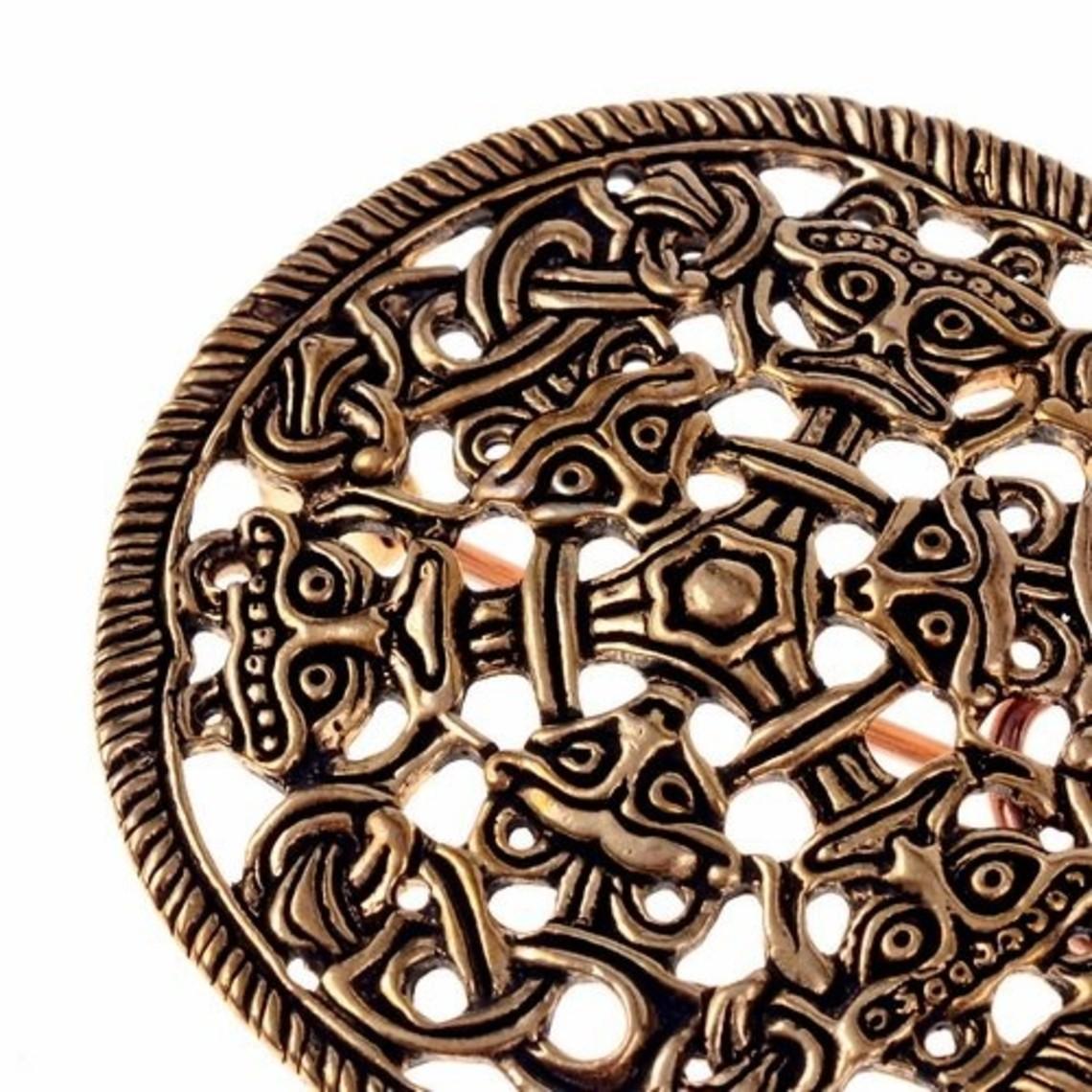 Borrestijl schijffibula, brons