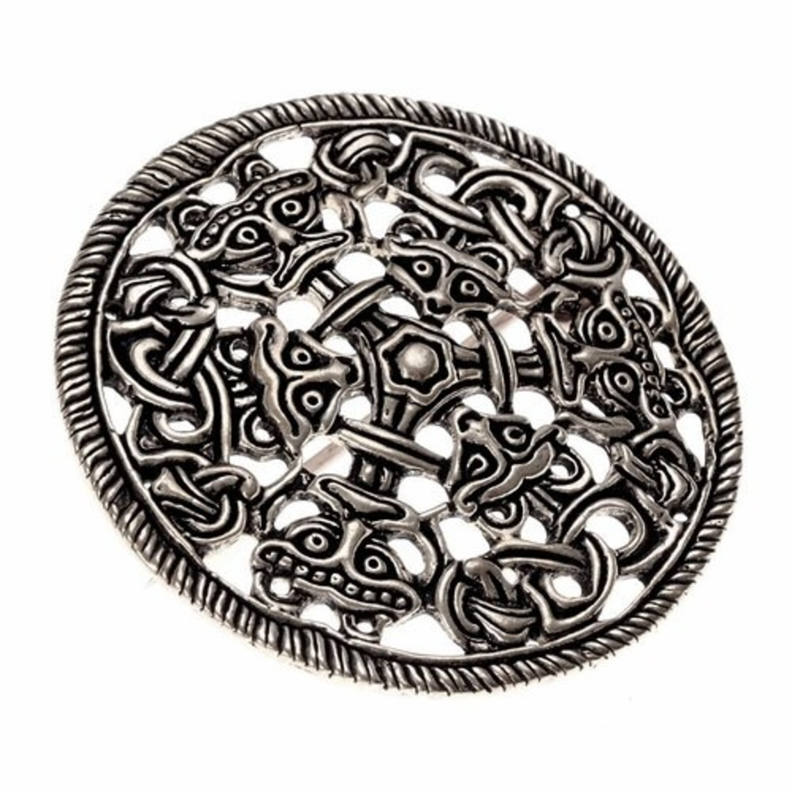 Borre fibula a disco stile, bronzo argentato