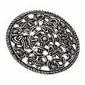 Borrestijl schijffibula, verzilverd brons