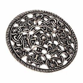Disque de style borre péroné, bronze argenté