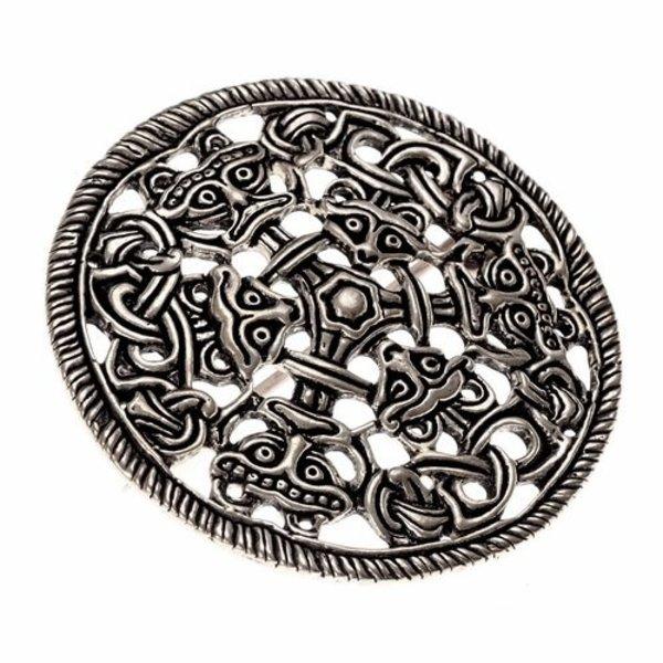 Borre stil skive fibula, forsølvet bronze
