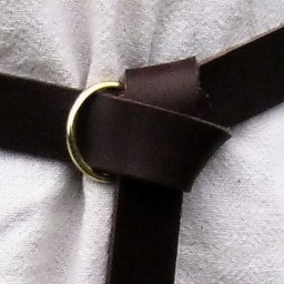 Leather belt with ring buckle, brown split leather