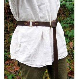 cinturón de cuero con hebilla de anillo, dividir cuero marrón