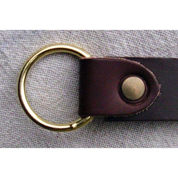 Læder bælte med ring spænde, sort split læder