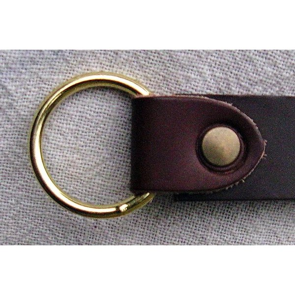 Leather ring belt 4 cm, brown