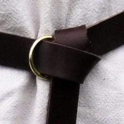 Läder ringen bälte 4 cm, svart spaltläder
