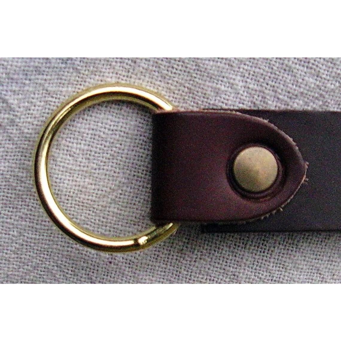 Leather ring belt 4 cm, brown split leather