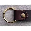 Læder ring bælte 4 cm, brunt spaltlæder