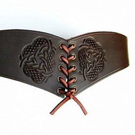 Korset bælte Bertholdin En knude motiv, brunt læder