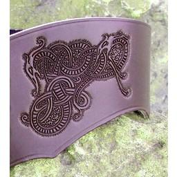 Korsetgurt Bertholdin B mit Viking-Motiv, schwarzes Leder
