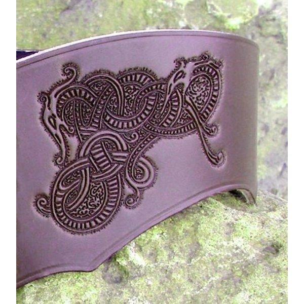 Corset belt Bertholdin B with Viking motif, black leather