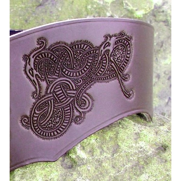 Ceinture Corset Bertholdin B avec motif Viking, en cuir marron