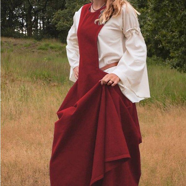 Middelalderlig surcotte Isabeau, rød