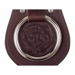 Skórzany uchwyt na broń motywem pas Viking, brązowy