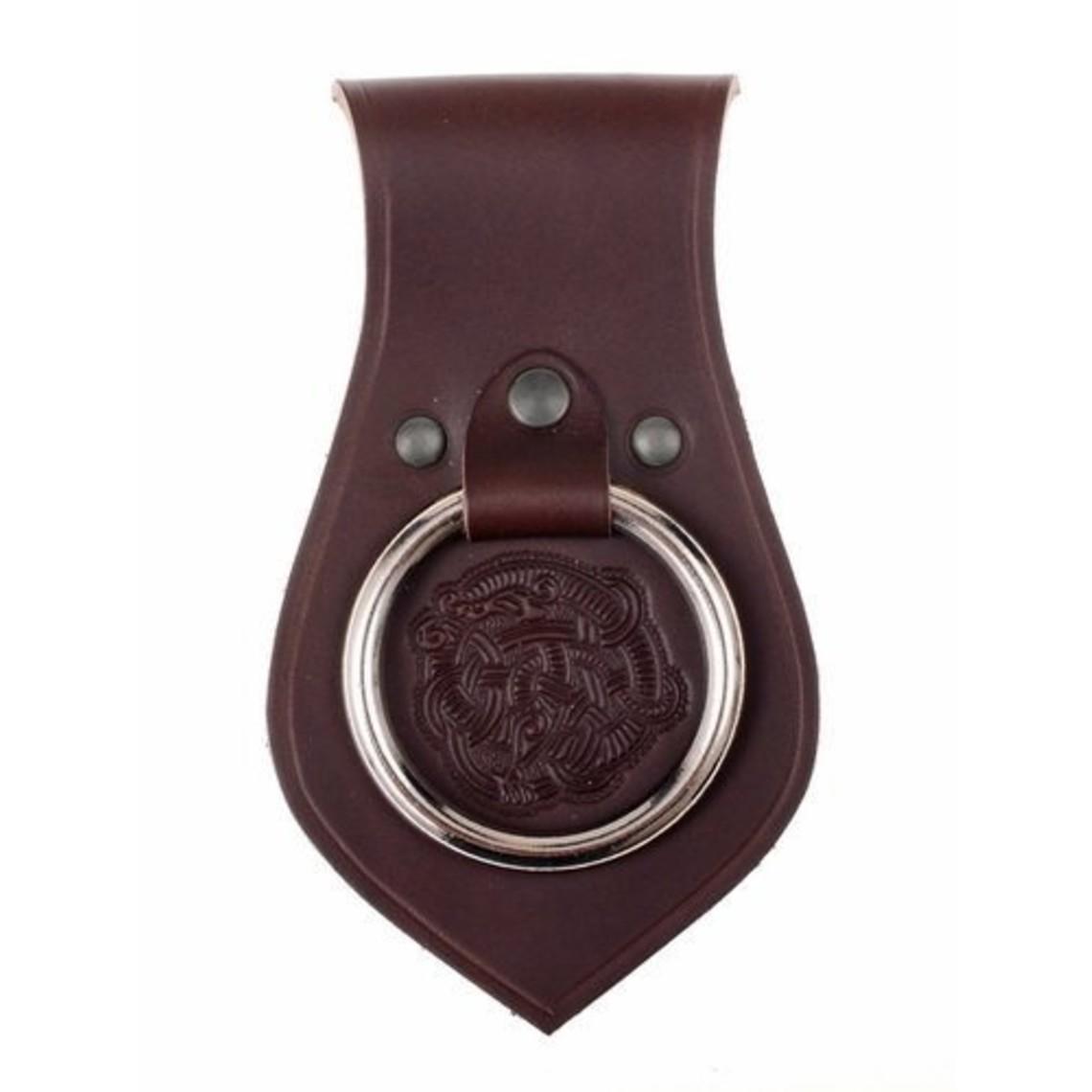 Leren wapenhouder voor riem Vikingmotief, bruin