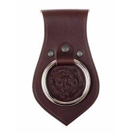Läder vapenhållare för bälte Viking motiv, brun