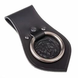 Leather weapon holder for belt Viking motif, black
