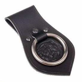 Leren wapenhouder voor riem Vikingmotief, zwart