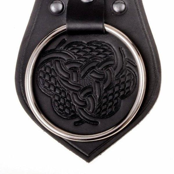 Porte d'arme en cuir pour ceinture, motif noeud, noir