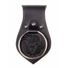Leather weapon holder for belt, knot motif, black