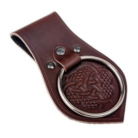 Leather weapon holder for belt, knot motif, brown
