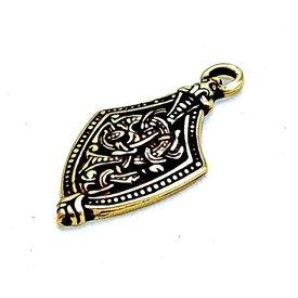 Viking juvel Borre stil skede ende, messing