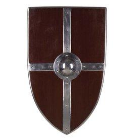 Bouclier médiéval avec des croix en acier