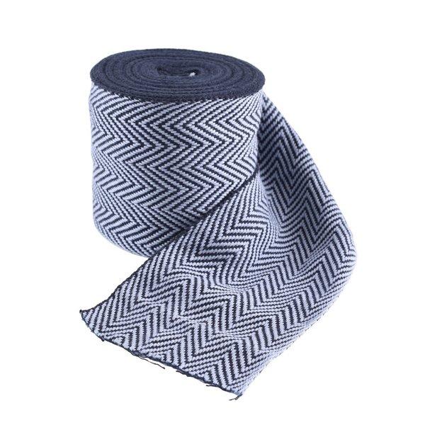 Sildeben motiv stof blå, 10 cm bred, pr 7 meter
