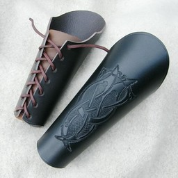 Läder vambrace med Viking motiv, stor brun