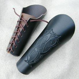 vambrace cuero con motivo de Viking, marrón grande