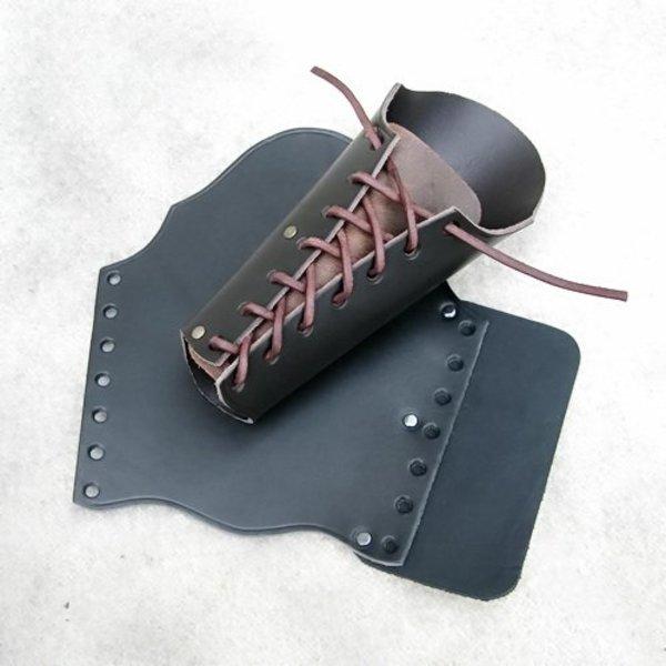 Læder vambrace 23 cm, sort