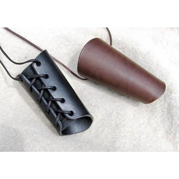 Læder vambrace 16 cm, sort