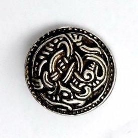 Viking knapper Borre stil sæt af fem stykker, forsølvede