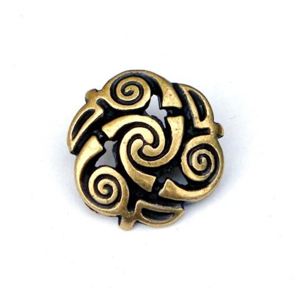 Keltische spiraalvormige knopen, set van vijf stuks, messing