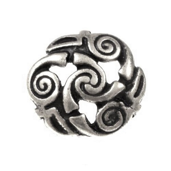 Celtic spiral buttons, set of 5 pieces, silvered