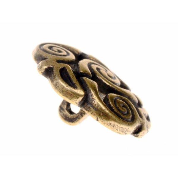 Celtic spiral knappar, uppsättning av 5 st, försilvrade