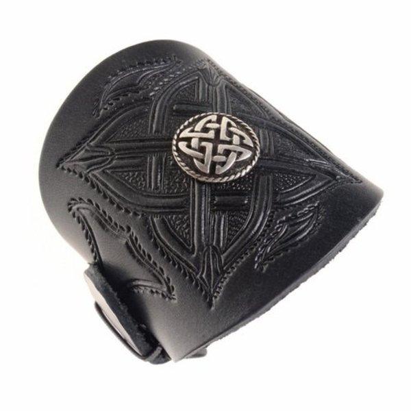 Celtic læderarmbånd med spænder, sort