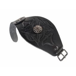 Celtic bransoletka ze skóry z klamrami, czarne