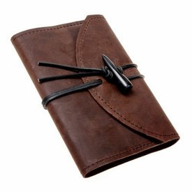 Notebook with leather cover, brown, M