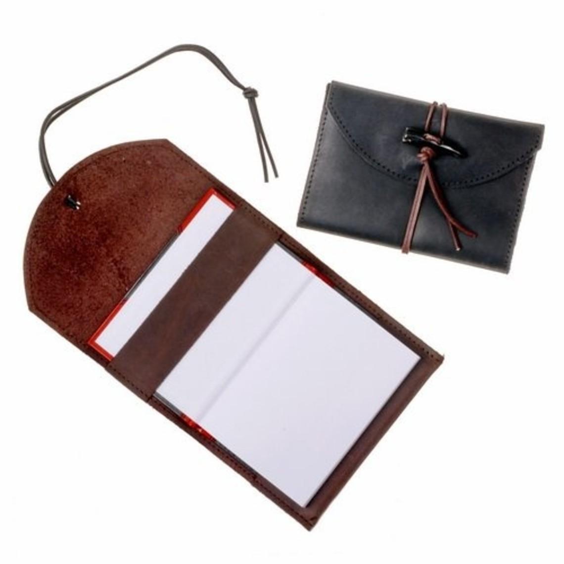 Notizbuch mit Lederbezug, schwarz, M.