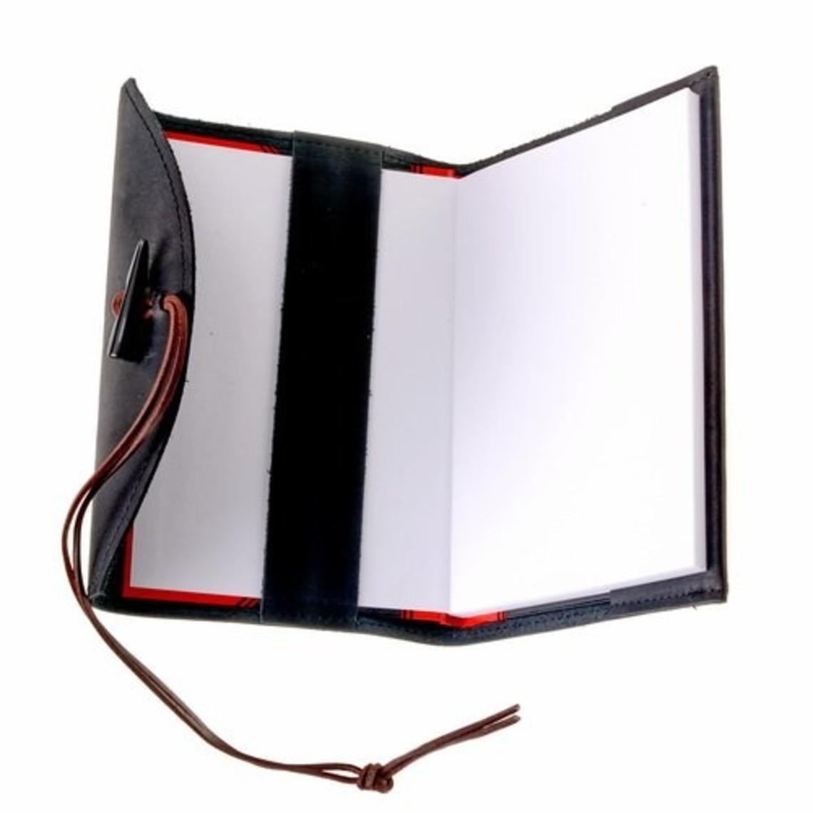 Notebook mit Lederbezug, schwarz, L
