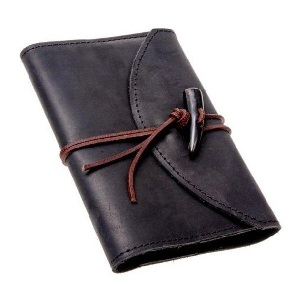 Notebook med læderbetræk, sort, L